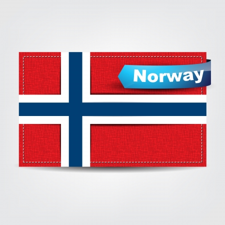 uefa: Fabric texture of the flag of Norway with a blue bow. Illustration