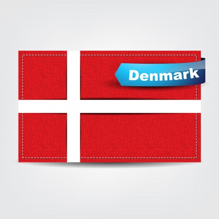 danish flag: Fabric texture of the flag of Denmark with a blue bow.