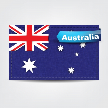 Fabric texture of the flag of Australia with a blue bow. Stock Vector - 18542007