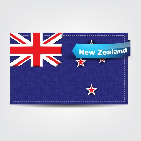 Fabric texture of the flag of New Zealand with a blue bow. Stock Vector - 18542008