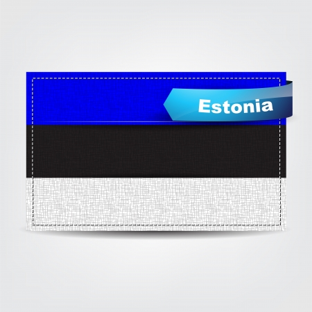 estonia: Fabric texture of the flag of Estonia with a blue bow.