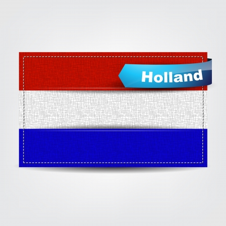 Fabric texture of the flag of Holland with a blue bow. Stock Vector - 18541998