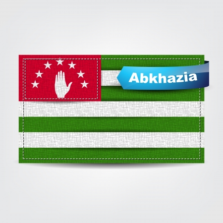 caucasus: Fabric texture of the flag of Abkhazia with a blue bow.