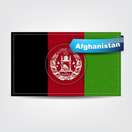 Fabric texture of the flag of Afghanistan with a blue bow. Stock Vector - 18595773