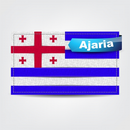 caucasus: Fabric texture of the flag of Ajaria with a blue bow. Illustration