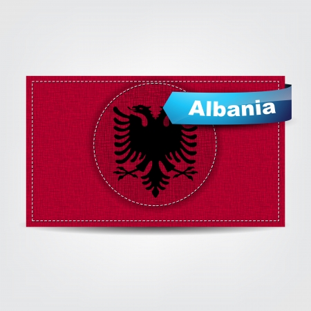 Fabric texture of the flag of Albania with a blue bow. Stock Vector - 18595772