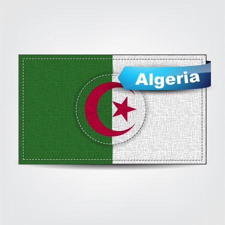 Fabric texture of the flag of Algeria with a blue bow. Stock Vector - 18595768