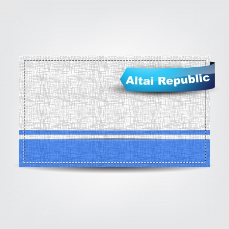 altai: Fabric texture of the flag of Altai Republic with a blue bow.