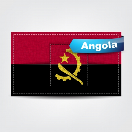 angola: Fabric texture of the flag of Angola with a blue bow.
