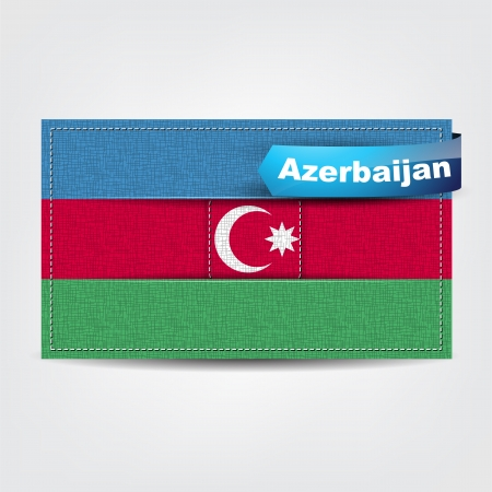 azerbaijan: Fabric texture of the flag of Azerbaijan with a blue bow. Illustration