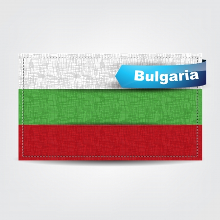 bulgaria flag: Fabric texture of the flag of Bulgaria with a blue bow.