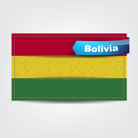 Fabric texture of the flag of Bolivia with a blue bow. Vector