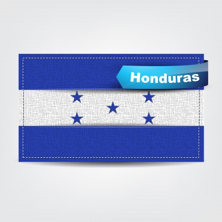 Fabric texture of the flag of Honduras with a blue bow. Vector