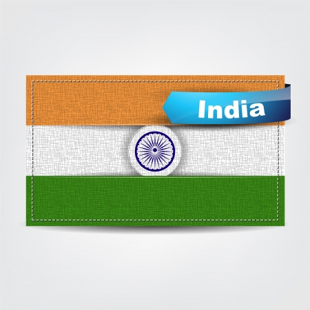 Fabric texture of the flag of India with a blue bow. Vector