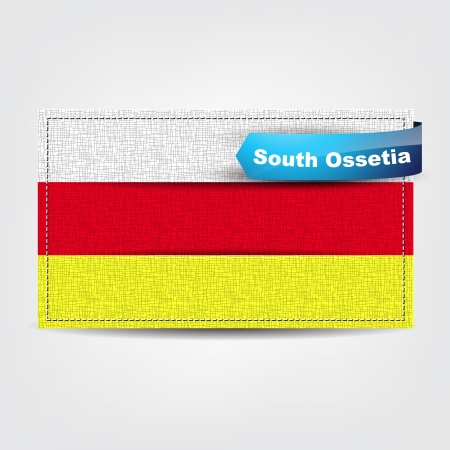 Fabric texture of the flag of South Ossetia with a blue bow. Stock Vector - 18595716