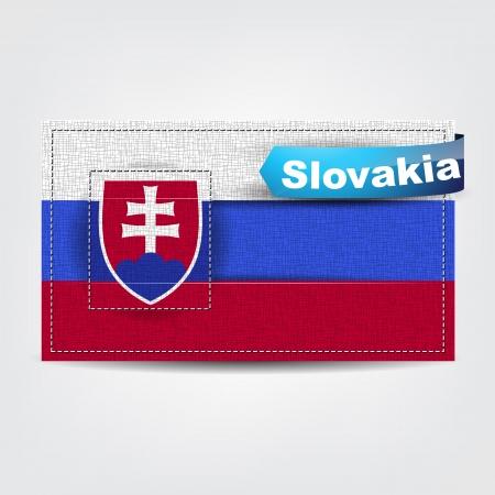 slovakian: Fabric texture of the flag of Slovakia with a blue bow.