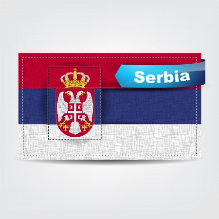 serbia: Fabric texture of the flag of Serbia with a blue bow.