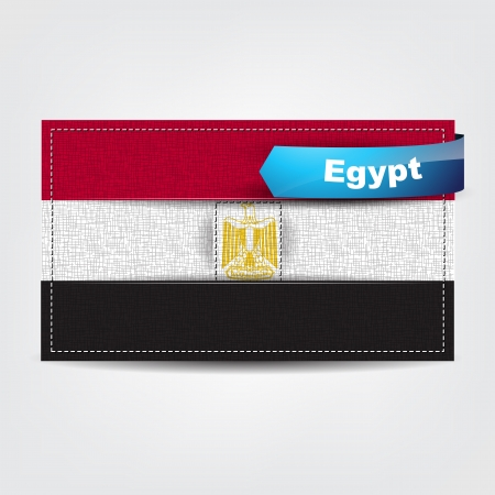 egypt flag: Fabric texture of the flag of Turkey with a blue bow.