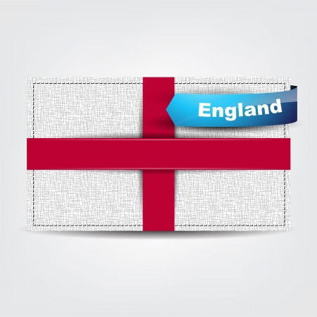 united states flag: Fabric texture of the flag of England with a blue bow. Illustration