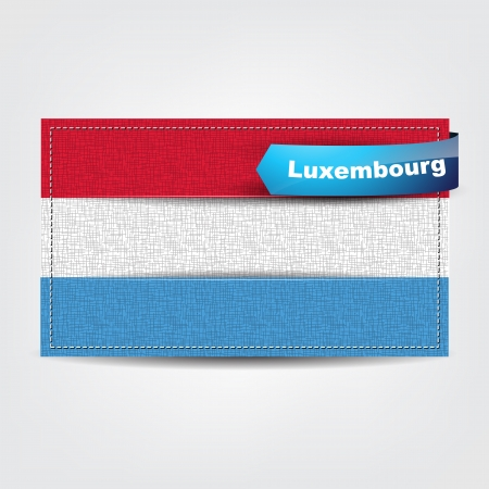 Fabric texture of the flag of Luxembourg with a blue bow. Vector