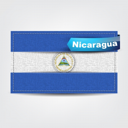 Fabric texture of the flag of Nicaragua with a blue bow. Vector