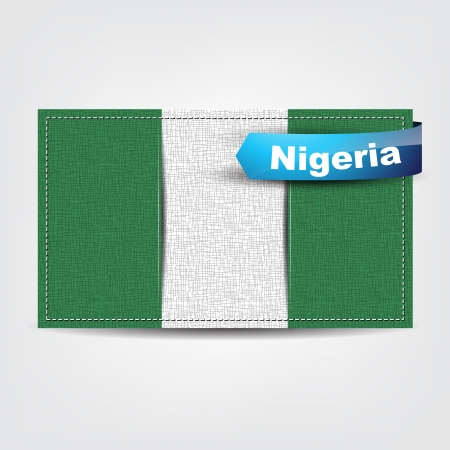 nigeria: Fabric texture of the flag of Nigeria with a blue bow.