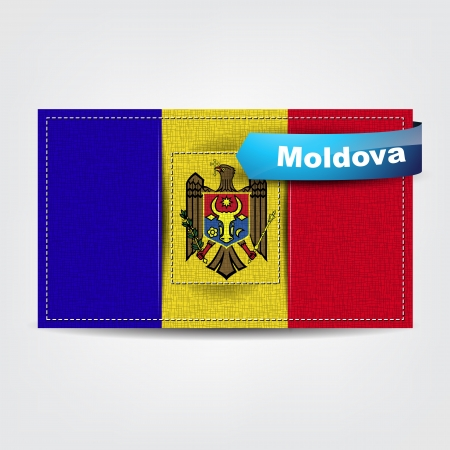 moldovan: Fabric texture of the flag of Moldova with a blue bow.