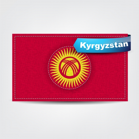 kirgizia: Fabric texture of the flag of Kyrgyzstan with a blue bow.
