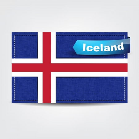 iceland: Fabric texture of the flag of Iceland with a blue bow.