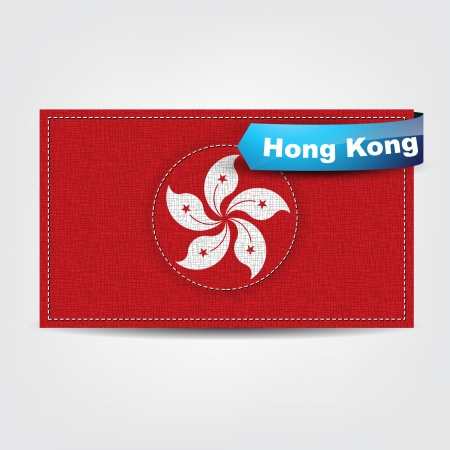 Fabric texture of the flag of Hong Kong with a blue bow. Vector