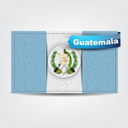 guatemala: Fabric texture of the flag of Guatemala with a blue bow. Illustration