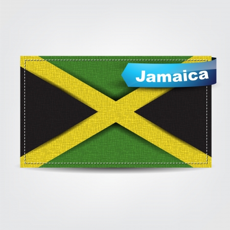 Fabric texture of the flag of Jamaica with a blue bow. Stock Vector - 18633804