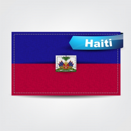 Fabric texture of the flag of Haiti with a blue bow. Stock Vector - 18844570