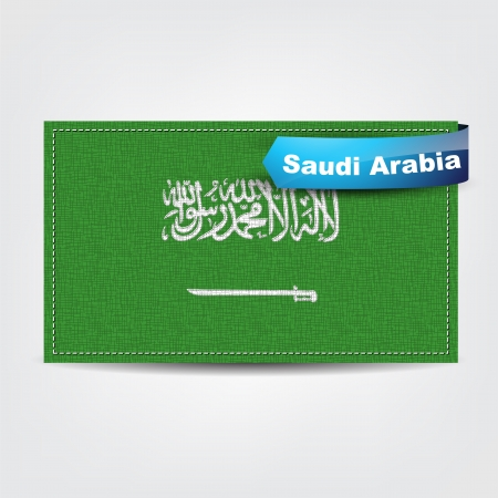 arabia: Fabric texture of the flag of Saudi Arabia with a blue bow. Illustration