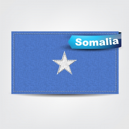 somalian: Fabric texture of the flag of Somalia with a blue bow.