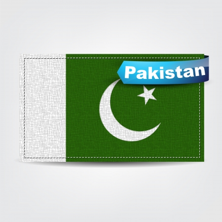 pakistan flag: Fabric texture of the flag of Pakistan with a blue bow.