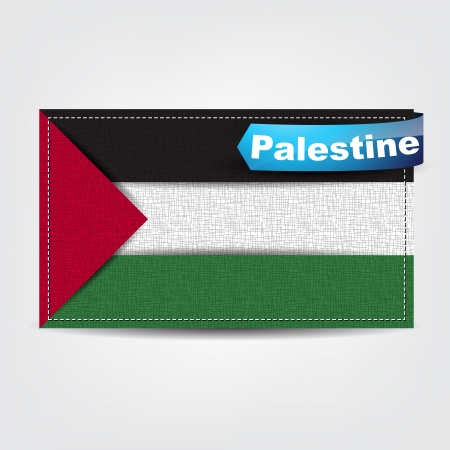 palestine: Fabric texture of the flag of Palestine with a blue bow.