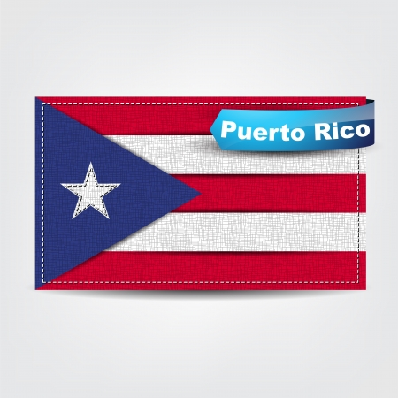 Fabric texture of the flag of Puerto Rico with a blue bow. Vector