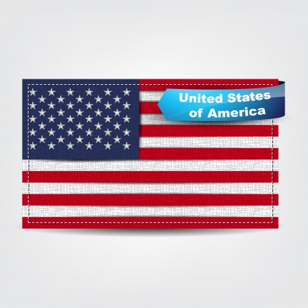stated: Fabric texture of the flag of United Stated of America with a blue bow.