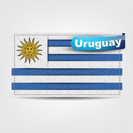 bandera de uruguay: Tela textura de la bandera de Uruguay con un lazo azul. Vectores