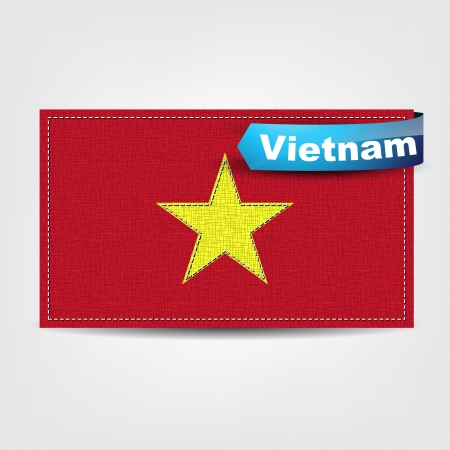 Fabric texture of the flag of Vietnam with a blue bow. Vector