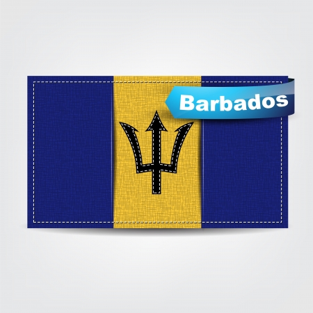 barbados: Fabric texture of the flag of Barbados with a blue bow.