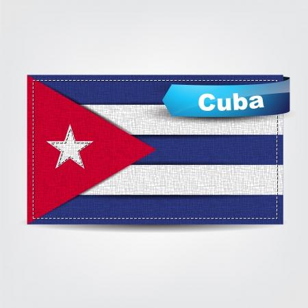cuban flag: Fabric texture of the flag of Cuba with a blue bow.
