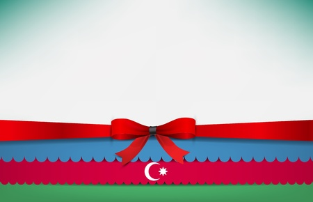 azerbaijan: Abstract background with the Azerbaijan Flag and a red bow.