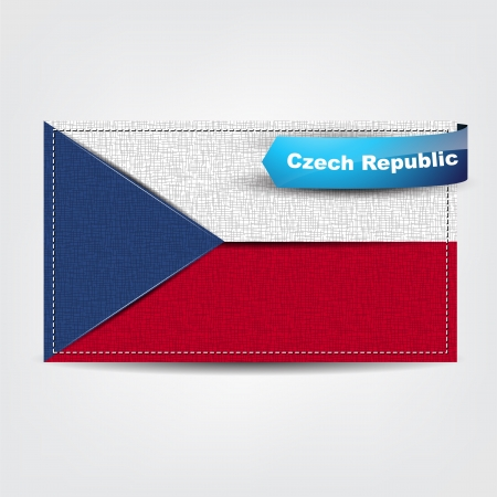 czech flag: Fabric texture of the flag of Czech Republic with a blue bow.