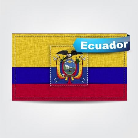 republic of ecuador: Fabric texture of the flag of Ecuador with a blue bow. Illustration