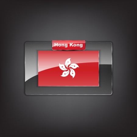 Glass button of the flag of Hong Kong with a red bow. Vector