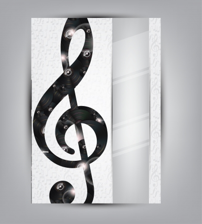 sol: Abstract music background illustration for your design with vinyl disks under the sol note and space for text.