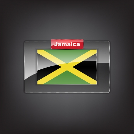 jamaican flag: Glass button of the flag of Jamaica with a red bow.