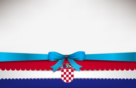 croatia flag: Abstract background with the Croatia Flag and a blue bow.